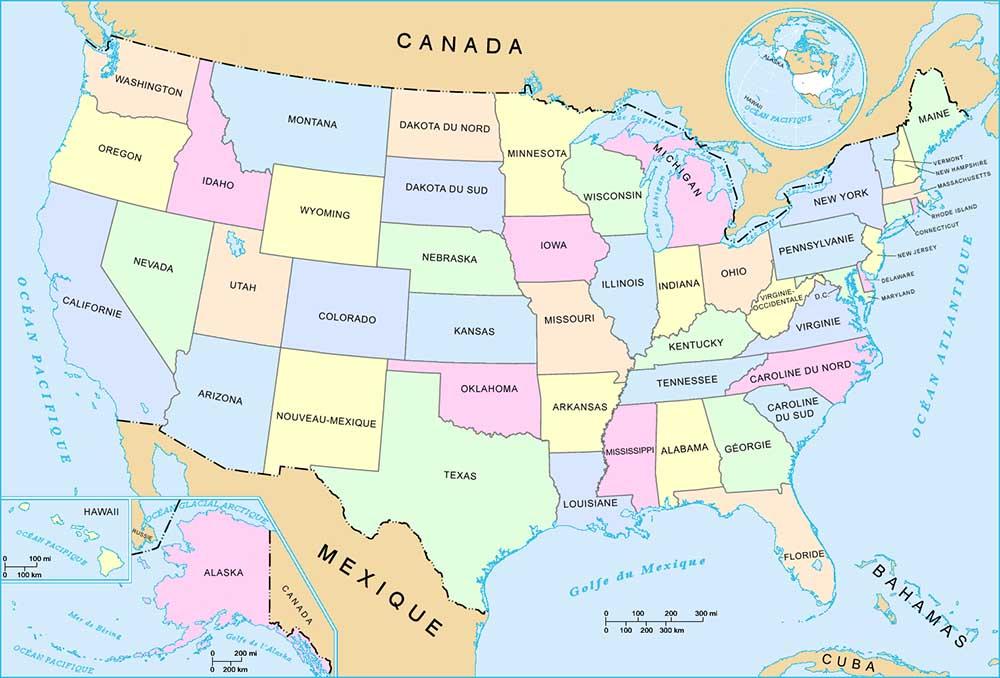 Carte Etats Unis Damerique.Qcm Les Etats D Amerique