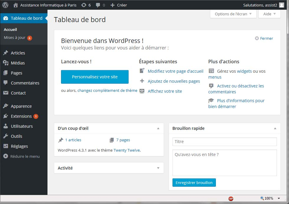 Tableau de Bord WordPress